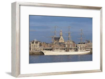 Sailing Ship in a River, Schelde River, Antwerp, Flanders, Belgium