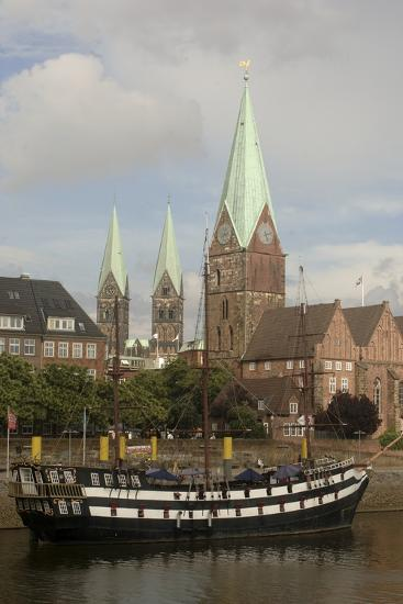 Sailing Ship Moored Along River Weser--Photographic Print