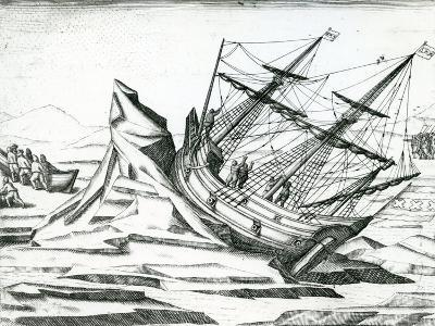 Sailing Ship Stranded on Iceberg from 'India Orientalis' 1598-Theodore de Bry-Giclee Print