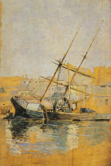 Sailing Ship with Wheel at Dock, 1900-1910--Giclee Print