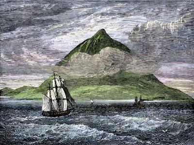 Sailing Ships Passing the Peak of Tenerife, or Teyde, Canary Islands, 1800s--Giclee Print