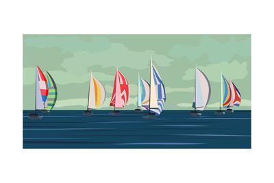 Sailing Yacht Regatta-Vertyr-Art Print