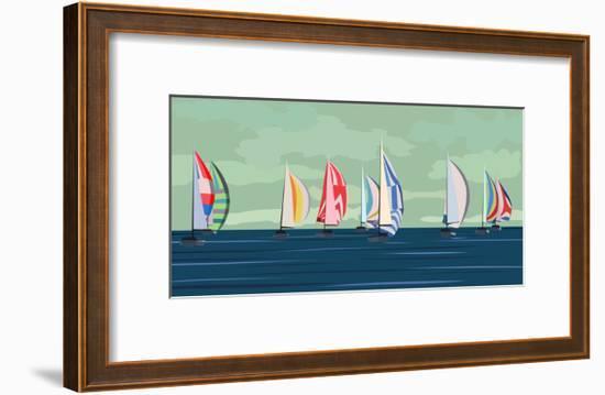 Sailing Yacht Regatta-Vertyr-Framed Art Print