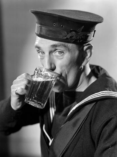 Sailor Drinking Beer--Photographic Print