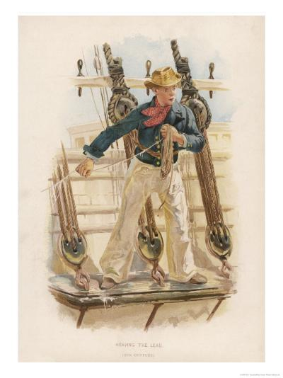 Sailor of the British Navy Heaves the Lead to Measure the Depth of Water-W.c. Symons-Giclee Print