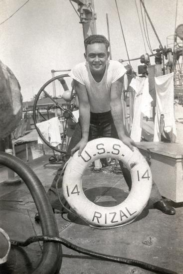 Sailor on the Deck of the Uss Rizal--Photographic Print