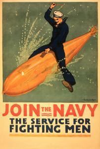 Sailor Riding Torpedo, Navy Poster