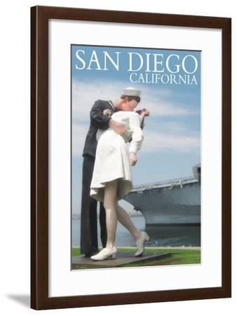 Sailor Sculpture at USS Midway - San Diego, California-Lantern Press-Framed Art Print
