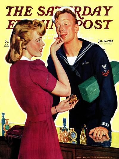"""Sailor Sniffing Perfume,"" Saturday Evening Post Cover, January 17, 1942-John Newton Howitt-Giclee Print"