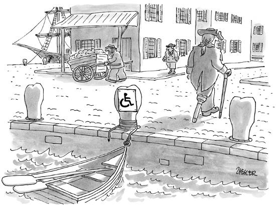 Sailor with a wooden leg, in colonial times, leaves his row boat tied up t… - New Yorker Cartoon-Jack Ziegler-Premium Giclee Print