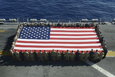 Sailors and Marines Display the National Ensign Aboard USS Kearsarge--Photographic Print