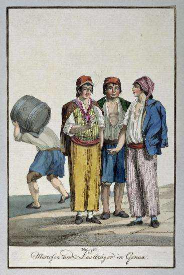 Sailors and Porters in Genoa, Ca 1815, Watercolour Copper, Italy, 19th Century--Giclee Print