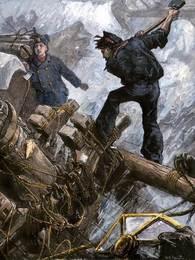 Sailors Cutting Away the Masts to Save Their Ship in a Storm, 1800s--Giclee Print
