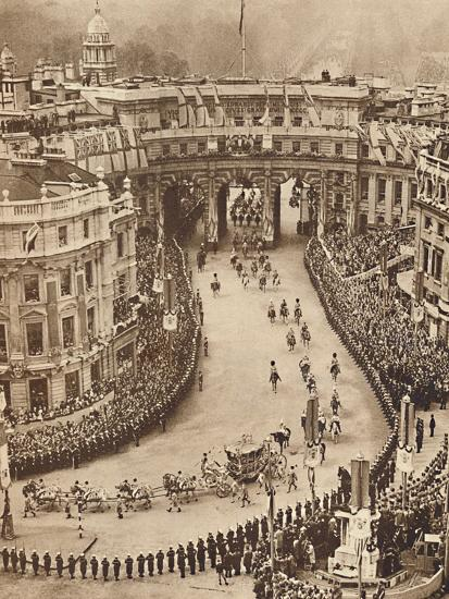 'Sailors Line The Route in Trafalgar Square', May 12 1937-Unknown-Photographic Print