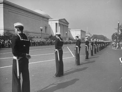 Sailors Lining Constitution Avenue for Funeral of Franklin D. Roosevelt-Alfred Eisenstaedt-Photographic Print