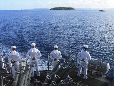 Sailors Man the Rails Aboard Guided-missile Destroyer USS Higgins-Stocktrek Images-Photographic Print