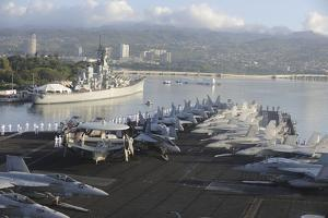 Sailors Man the Rails of USS Nimitz in Pearl Harbor