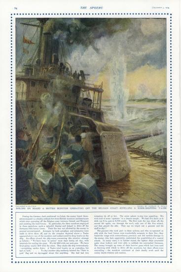Sailors on Board a British Monitor Off the Belgian Coast-Charles William Wyllie-Giclee Print