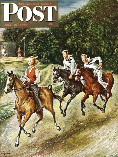 """""""Sailors on Girl Chase,"""" Saturday Evening Post Cover, July 10, 1948-Constantin Alajalov-Giclee Print"""