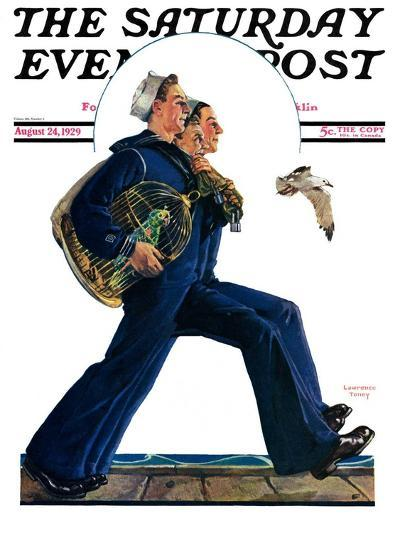 """""""Sailors on Leave,"""" Saturday Evening Post Cover, August 24, 1929-Lawrence Toney-Giclee Print"""