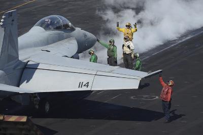 Sailors Prepare an F-A-18F Super Hornet for Launch--Photographic Print
