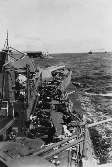 Sailors Sleeping on the Upper Deck of the British Battleship HMS Malaya, C1940-C1941--Giclee Print