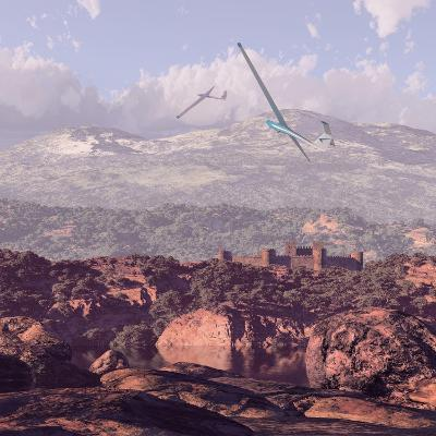 Sailplanes And Castle-Designwest-Art Print