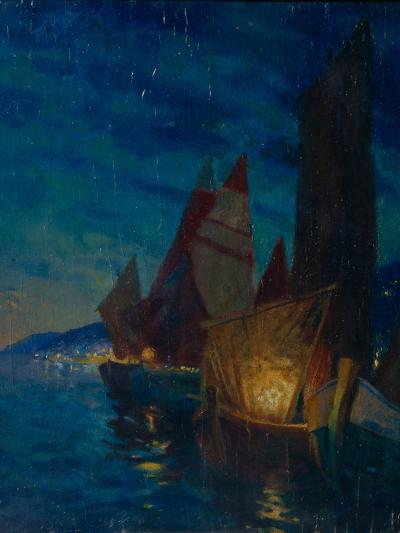 Sails at Night-Alexander Fyodorovich Gaush-Giclee Print