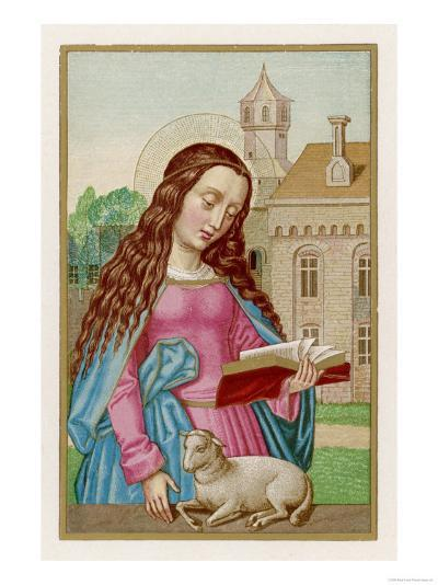 Saint Agnes Reading a Book While a Very Small Lamb Rests Beside Her--Giclee Print