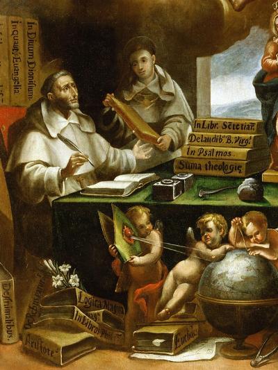 Saint Albert Writing, Apparition of Saint Paul to Saint Albert the Great and Saint Thomas Aquinas-Alonso Antonio Villamor-Giclee Print