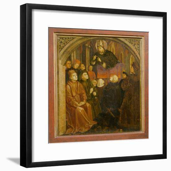 Saint Ambrose Preaching in Milan, Form the 'Altarpiece of Saint Augustine', C.1480 (Oil on Panel)-German-Framed Giclee Print