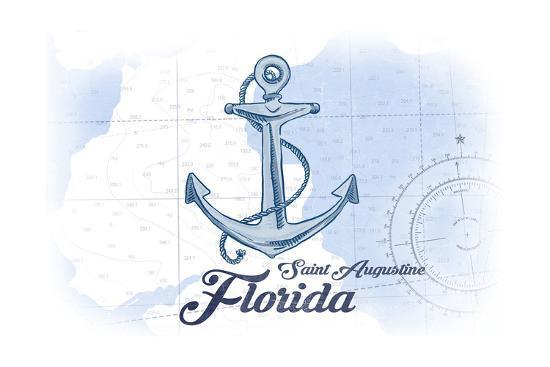 Saint Augustine, Florida - Anchor - Blue - Coastal Icon-Lantern Press-Art Print
