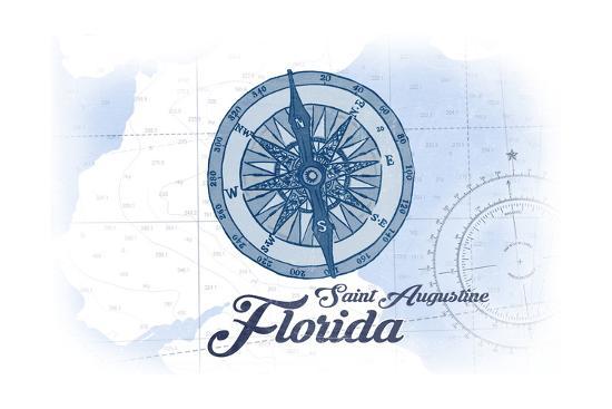 Saint Augustine, Florida - Compass - Blue - Coastal Icon-Lantern Press-Art Print