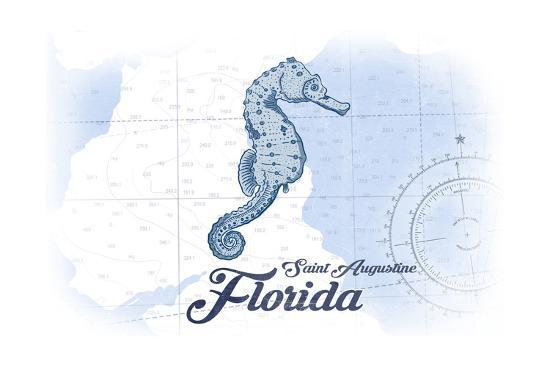 Saint Augustine, Florida - Seahorse - Blue - Coastal Icon-Lantern Press-Art Print