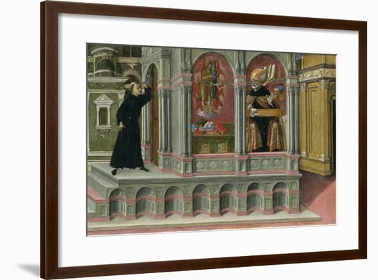 Saint Augustine's Vision of Saints Jerome and John the Baptist, 1476-Matteo di Giovanni di Bartolo-Framed Giclee Print
