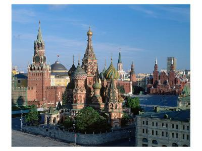 Saint Basil's Cathedral and Spassky Tower, Red Square, Moscow, Russia--Art Print