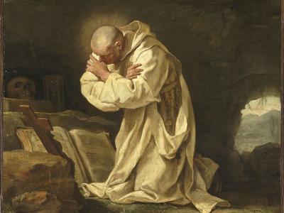 Saint Bruno en prière dans le désert-Jean Bernard Restout-Giclee Print
