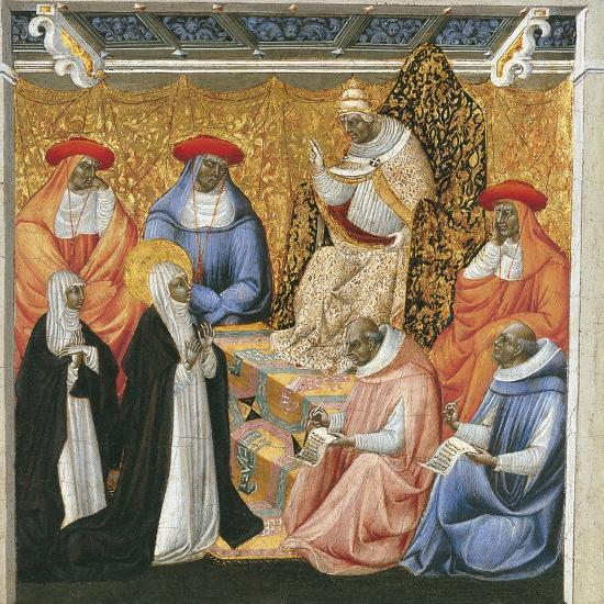 Saint Catherine of Siena before the Pope at Avignon-Giovanni di Paolo-Giclee Print