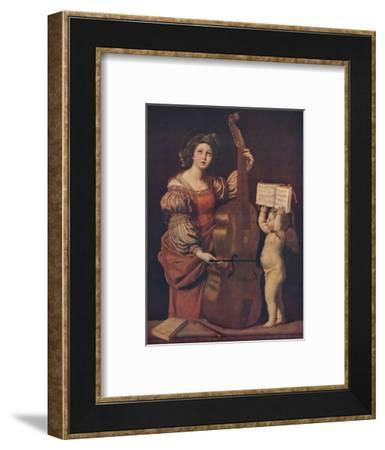 'Saint Cecilia with an angel holding a musical score', 1617-1618-Domenichino-Framed Giclee Print