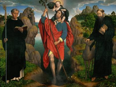 Saint Christopher Carrying the Christ Child, Flanked by Saints Maurus and Gilles-Hans Memling-Giclee Print