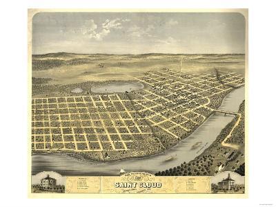 Saint Cloud, Minnesota - Panoramic Map-Lantern Press-Art Print
