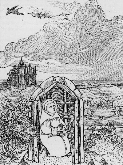 Saint Cuthbert in His Hermit Cell on Farne Island--Photographic Print