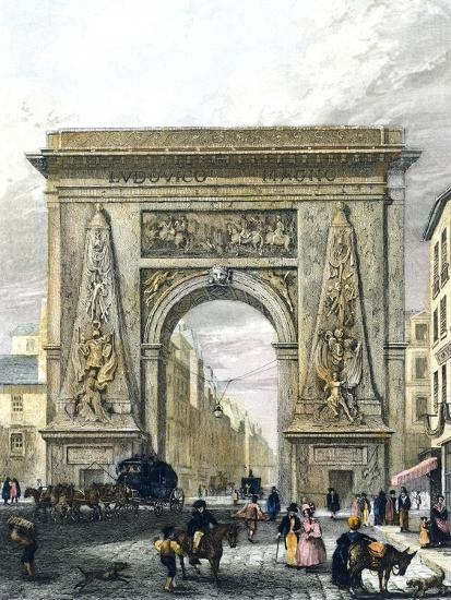 Saint Denis Gate, Paris, France 19th Century Engraving--Giclee Print