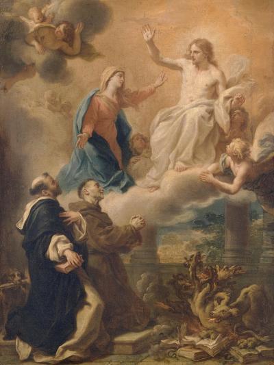 Saint Dominique et saint François implorant le Christ avec l'intercession de la Vierge-Pietro Bianchi-Giclee Print