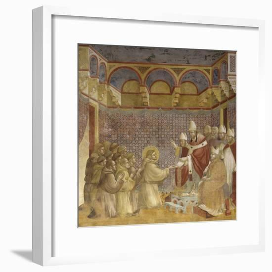 Saint Francis and Friars Receiving Franciscan Rule from Pope-Giotto-Framed Art Print