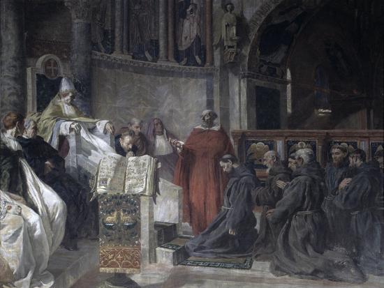 Saint Francis before Pope Innocent the Third-Vittorio Emanuele Bressanin-Art Print