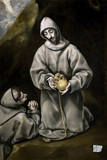 Saint Francis of Assisi and Brother Leo Meditating on Death, 1600-14-El Greco-Giclee Print