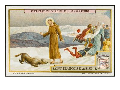 Saint Francis of Assisi Befriends the Wolf of Gubbio--Giclee Print