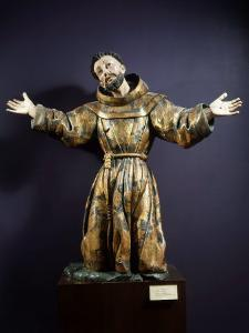 Saint Francis of Assisi in Ecstasy, Painted and Gilded Wood, 17th century Mexican