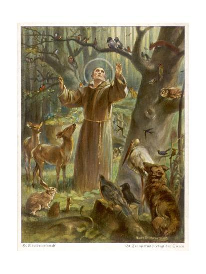 Saint Francis of Assisi, Preaching to the Animals-Hans Stubenrauch-Giclee Print